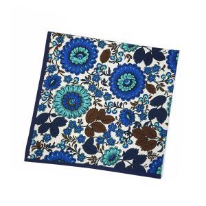 Kinloch【キンロック】プリントハンカチ Girasole blu 0362FA50CO22 コットン ブルー ネイビー|cinqueunaltro