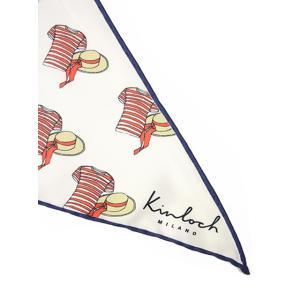 Kinloch【キンロック】プリントトライアングルスカーフ Gondoliere 0473TR70TW22 シルク ホワイト ネイビー|cinqueunaltro|03