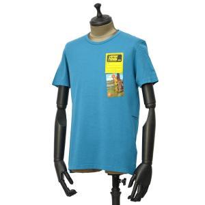 PAOLO PECORA【パオロペコラ】プリントクルーネックカットソー C1M F241 6320 6348 コットン ブルー|cinqueunaltro