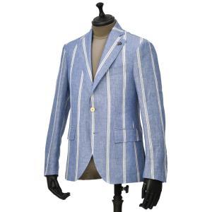 【size44,48】Gabriele Pasini【ガブリエレ パジーニ】シングルジャケット JG15065Q GP15431 101 リネン ストライプ ライトブルー ホワイト|cinqueunaltro