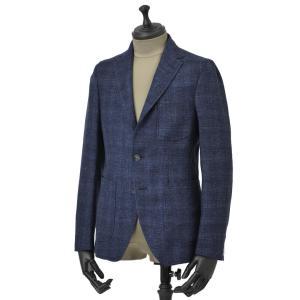 THE GIGI【ザ ジジ】シングルジャケット ANGIE H022 750 ウール リネン ポリウレタン チェック ブルー|cinqueunaltro