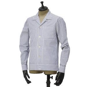 THE GIGI【ザ ジジ】オープンカラーシャツ BELL K914 650 コットン サッカーストライプ ホワイト ブルー|cinqueunaltro