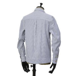 THE GIGI【ザ ジジ】オープンカラーシャツ BELL K914 650 コットン サッカーストライプ ホワイト ブルー|cinqueunaltro|02