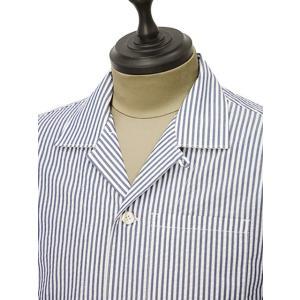 THE GIGI【ザ ジジ】オープンカラーシャツ BELL K914 650 コットン サッカーストライプ ホワイト ブルー|cinqueunaltro|03
