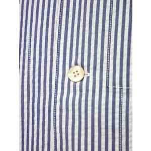 THE GIGI【ザ ジジ】オープンカラーシャツ BELL K914 650 コットン サッカーストライプ ホワイト ブルー|cinqueunaltro|04