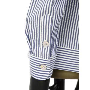 THE GIGI【ザ ジジ】オープンカラーシャツ BELL K914 650 コットン サッカーストライプ ホワイト ブルー|cinqueunaltro|05