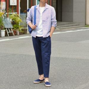 THE GIGI【ザ ジジ】オープンカラーシャツ BELL K914 650 コットン サッカーストライプ ホワイト ブルー|cinqueunaltro|07