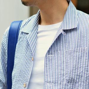 THE GIGI【ザ ジジ】オープンカラーシャツ BELL K914 650 コットン サッカーストライプ ホワイト ブルー|cinqueunaltro|08