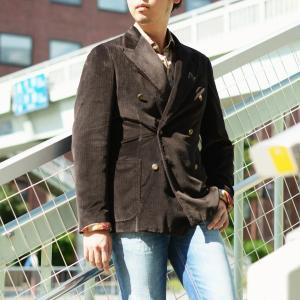 THE GIGI【ザ ジジ】ダブルジャケット ART629 L608 420 コットン ベロア ヘリンボーン ブラウン|cinqueunaltro|08