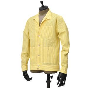 THE GIGI【ザ ジジ】オープンカラーシャツ BELL M901 コットン シアサッカー イエローホワイト|cinqueunaltro