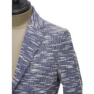 T-JACKET【ティージャケット】シングルジャケット 419-83210002 521 コットン ポリエステル ナイロン ポリウレタン ジャガード メランジ ブルー ホワイト|cinqueunaltro|04