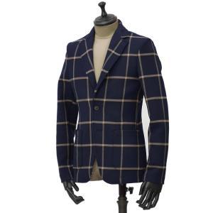 【size XS】T-JACKET【ティージャケット】シングルジャケット 51G419J 9302Q 600 ポリウレタン ウィンドウペン ネイビー ベージュ cinqueunaltro