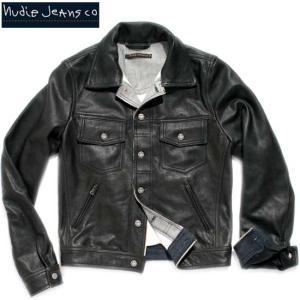 ヌーディー ジーンズ  レザージャケット ジェリー ラボ セルベジ ラインド ブラック 160093 JERRY|cio