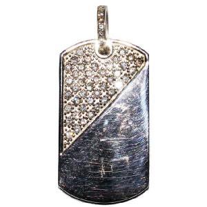 シルバー 925 ドッグタグ ペンダントトップ ジルコニア付 47mm Silver 925 dogs tag pendant top with zirconia 47mm|cio