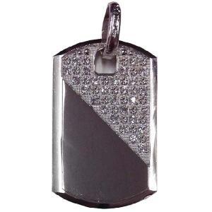 シルバー 925 ドッグタグ ペンダントトップ ジルコニア付 55mm silver 925 dogs tag pendant top with zirconia 55mm|cio