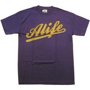 ALIFE BASEBALL S/S TEE Purple エーライフ ベースボール S/S Tシャツ パープル|cio