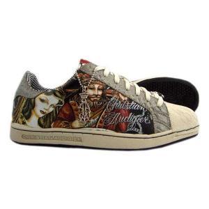 Christian Audigier Shoe's CROWN White クリスチャンオードジェー シューズ クラウン ホワイト/グレー|cio