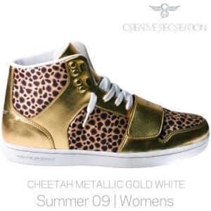 【SALE】CR8 CESARIO WOMENS Cheetah Metalic Gold クリエイティブレクリエーション セサリオ ウィーメンズ チーター/メタリックゴールド/ホワイト|cio