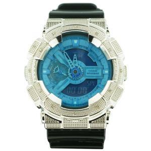 カシオ Gショック ダイヤモンド カスタム ウォッチ シルバー ブルー GA-110 CASIO G-SHOCK Diamond Custom Watch Silver Blue GA-110|cio