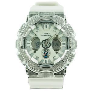 カシオ Gショック ダイヤモンド カスタム ウォッチ シルバー ホワイト GA-120 CASIO G-SHOCK Diamond Custom Watch Silver White GA-120|cio