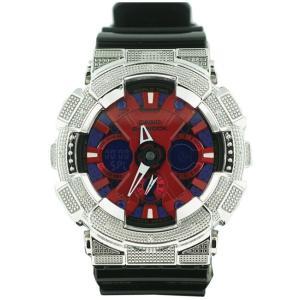 カシオ Gショック ダイヤモンド カスタム ウォッチ シルバー レッド GA-120 CASIO G-SHOCK Diamond Custom Watch Silver Red GA-120|cio