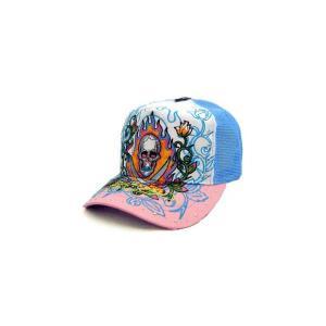 ED HARDY Rhinstone Cap 13Skull White/Blue/Pink エドハーディー ラインストーン キャップ 13スカル ホワイト/ブルー/ピンク|cio