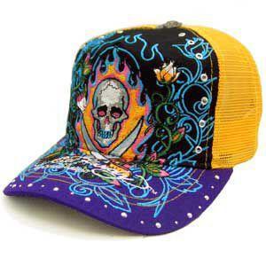 ED HARDY Rhinstone Cap 13Skull Black/Yellow/Purple エドハーディー ラインストーン キャップ 13スカル ブラック/イエロー/パープル|cio