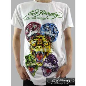 【SALE】Ed Hardy Mens SS Tee MULT ITIGER Black/White エドハーディー メンズ S/S Tシャツ マルチ タイガー ホワイト|cio