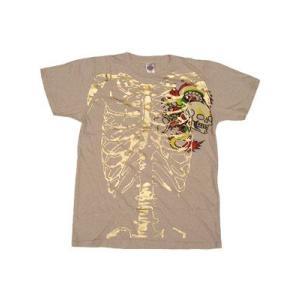 【SALE】Ed Hardy Mens Skelton S/S Tee Skull Dragon Natural エドハーディー メンズ スケルトン S/S Tシャツ スカルドラゴン ナチュラル|cio