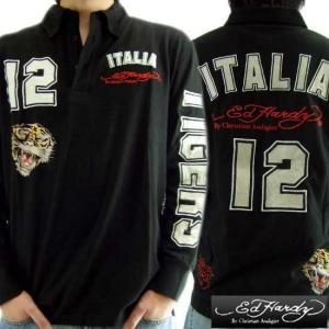 【SALE】エドハーディー L/S ポロシャツ イタリー#12 ブラック Ed Hardy L/S Polo MRUITA0143 ITALY#12 Black|cio