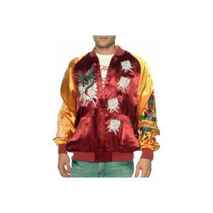 【SALE】Ed Hardy Souvenir Jacket Phoenix Burgundy/Gold エドハーディー スーベニアジャケット フェニックス バーガンディー/ゴールド|cio