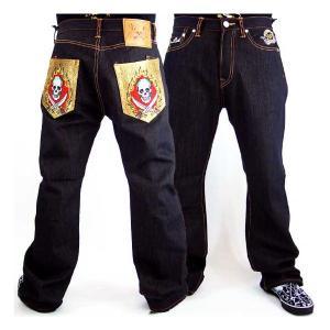 エドハーディー メンズ デニム イエロー ツー ソーズ スカル ポケット Ed Hardy Mens Denim Jeans Yellow Two Swords Skull Pocket|cio