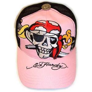 ED HARDY CAP BASIC PIRETE SKULL Pink Black エドハーディー キャップ ベーシック パイレーツスカル ピンク/ブラック|cio