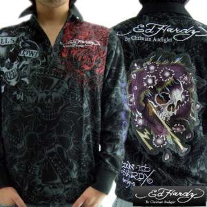 エドハーディー L/S ポロシャツ ビューティフル ゴースト ブラック Ed Hardy L/S Polo MRUBEA0145 Beautiful Ghost|cio