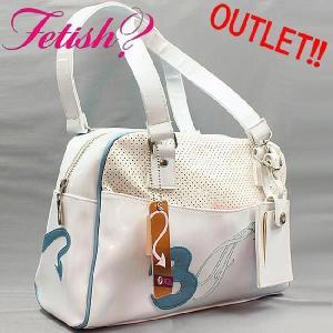【訳ありアウトレット】フェティッシュ レディース バッグ ミニボストン ホワイト ブルー FETISH Ladies' bag Mini Boston White Blue|cio