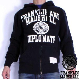 フランクリンアンドマーシャル ジップ アップ フーディー 1009059 ブラック FRANKLIN&MARSHALL ZIP UP HOODIE 1009059 Black|cio