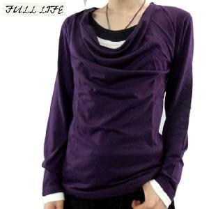 フルライフ 3フェイク レイヤード ドレープ カットソー パープル FULL LIFE 3Fake Layered Drape Cut & Sewn Purple|cio