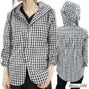 フルライフ フーディー デザイン シャツ ブラック チェック FULL LIFE Hoodie Hood Design Shirt Black Check|cio