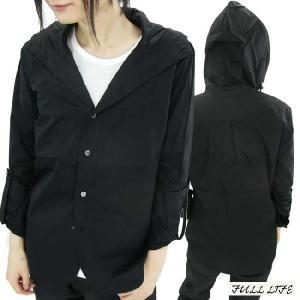 フルライフ フーディー デザイン シャツ ブラック FULL LIFE Hoodie Hood Design Shirt Black|cio