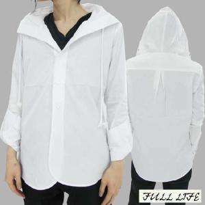 フルライフ フーディー デザイン シャツ ホワイト FULL LIFE Hoodie Hood Design Shirt White|cio