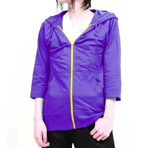 フルライフ 七分袖カラー ジップ パーカー パープル FULL LIFE Three-Quarter Sleeves Color Zip Parka Purple|cio