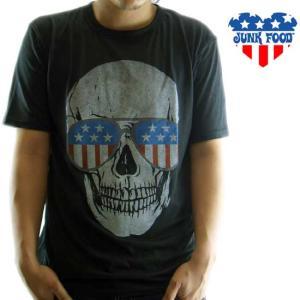 JUNK FOOD S/S T-Shrit Skull Black Wash ジャンクフード S/S Tシャツ スカル ブラック ウォッシュ|cio