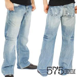 575DENIM PANTS BLUE WASH PAINT ファイブセブンティファイブデニム パンツ ブルーウォッシュ ペイント|cio