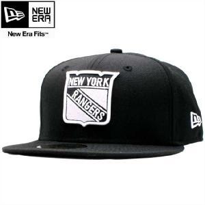 ニューエラ 5950キャップ ホワイトロゴ ニューヨークレンジャース ブラック ホワイト New Era 59FIFTY Cap White Logo Newyork Rangers Black White cio