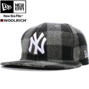 ウールリッチ×ニューエラ 5950キャップ ホワイトロゴ ニューヨークヤンキース グレーチェック ホワイト WOOLRICH×New Era 59FIFTY Cap NYY Gray(Grey) Check|cio