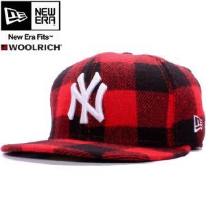 ウールリッチ×ニューエラ 5950キャップ ホワイトロゴ ニューヨークヤンキース レッドチェック ホワイト WOOLRICH×New Era 59FIFTY NY Yankees Red Check White|cio
