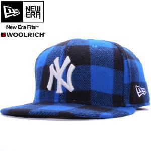 ウールリッチ×ニューエラ 5950キャップ ホワイトロゴ ニューヨークヤンキース ブルーチェック ホワイト WOOLRICH×New Era 59FIFTY NY Yankees Blue Check|cio