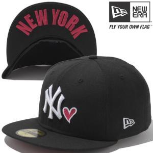 ニューエラ 5950キャップ アンダーバイザー エムエルビーウィズハート ニューヨークヤンキース ブラック New Era 59FIFTY Under Visor Heart New York Yankees|cio