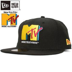 エムティーヴィー×ニューエラ 5950キャップ  ブラック マルチ イエロー Mtv×New Era 59Fifty Cap Black Multi Yellow cio