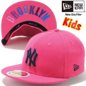 ニューエラ 5950キッズキャップ ニューヨークヤンキース ブライトローズ ミッドナイトネイビー New Era 59Fifty Kids Cap New York Yankees Bright Rose Navy|cio